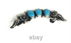 Native American Sterling Silver Navajo Handmade Turquoise Ear Climber