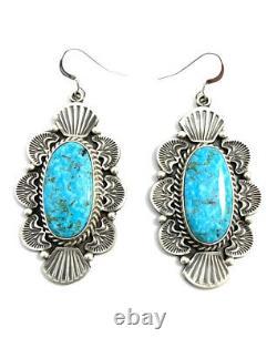 Native American Sterling Silver Navajo Kingman Turquoise Dangle Earring