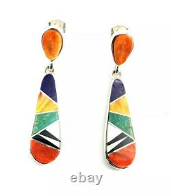 Native American Sterling Silver Navajo Multicolored Design Dangle Earrings