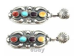 Native American Sterling Silver Navajo Old Look Multicolored Dangle Earrings