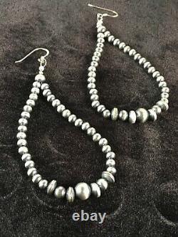 Native American Sterling Silver Navajo Pearls Bead Earrings Gift