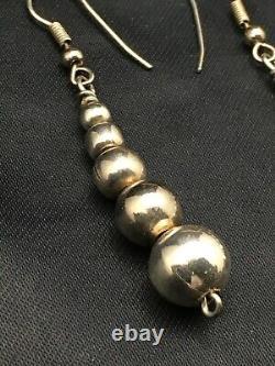 Native American Sterling Silver Navajo Pearls Earrings 1.5 1080