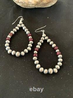Native American Sterling Silver Navajo Pearls Purple Spiny Oys Earrings 2.5 3248