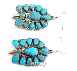 Native American Sterling Silver Navajo Turquoise Blossom Cluster Dangle earrings