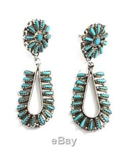 Native American Sterling Silver Navajo Turquoise Dangle Cluster Earring
