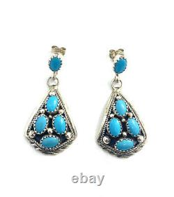 Native American Sterling Silver Navajo Turquoise Dangle Earring
