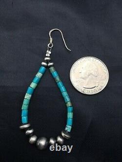 Native American Sterling Silver Navajo Turquoise Heishi Bead Earrings 2 4355
