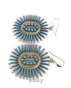 Native American Sterling Silver Needle Point Turquoise Zuni Dangle Earrings