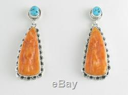 Native American Sterling Silver Orange Oyster and Turquoise Post Earrings