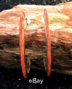 Native American Sterling Silver Red Coral Inlay Hoop Earrings Over Sized