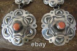 Native American Sterling Silver Spiny Oyster Concho Post Earrings by T. Yazzie