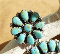 Native American Sterling Silver Turquoise Cluster Large Round Statement Earrings
