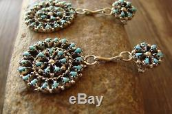Native American Sterling Silver Turquoise Cluster Post Earrings Zuni