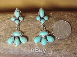 Native American Sterling Silver Turquoise Dangle Earrings! Sarah Yazzie