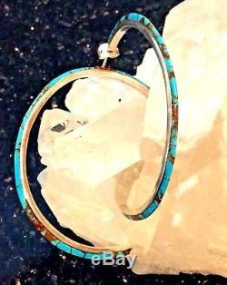 Native American Sterling Silver Turquoise Hoop Earrings Huge Southwest