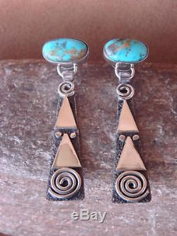 Native American Sterling Silver Turquoise Petroglyph Earrings by Alex Sanchez