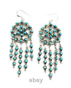 Native American Sterling Silver Zuni Handmade turquoise Dangle earrings