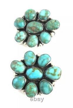 Native American Sterling Silver navajo Handmade Kingman Turquoise Post earrings