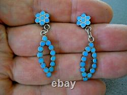 Native American Turquoise Dishta Dot Inlay Sterling Silver Post Earrings