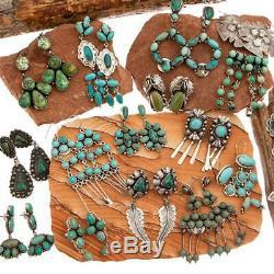 Native American Turquoise Earrings Navajo Hoop Sterling Silver Vintage Dangle