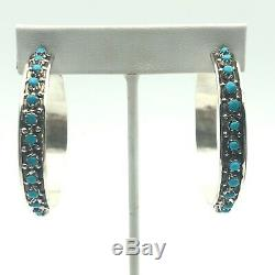 Native American Turquoise Hoop Earrings Zuni Handmade