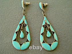 Native American Turquoise Shadowbox Inlay Sterling Silver Dangles Post Earrings