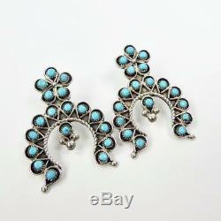 Native American Zuni Eilene James Snake Eye Turquoise Cluster Naja Earrings