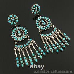 Native American Zuni Handmade Sterling Silver & Turquoise Chandelier Earrings