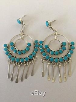 Native American Zuni Handmade Turquoise Dangle Earrings