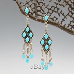 Native American Zuni Marquise Cut Turquoise Cluster Sterling Silver Earrings