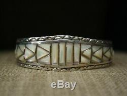 Native American Zuni Mother of Pearl Sterling Silver Bracelet & Earrings Set