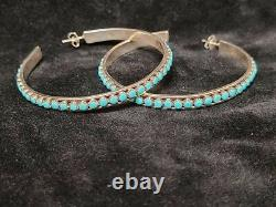 Native American Zuni Snake Eye Sterling Silver Turquoise Hoop Earrings Handmade