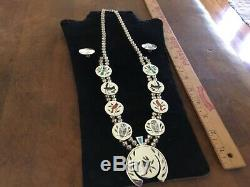 Native American Zuni Sterling Daakie Squash Blossom Necklace & Earrings