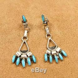 Native American Zuni Sterling Silver NeedlePoint Turquoise Earrings Necklace Set
