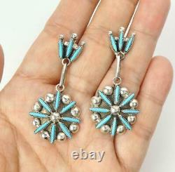 Native American Zuni Sterling Silver Needlepoint Turquoise Cluster Drop Earrings
