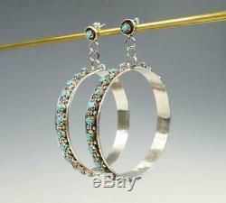 Native American Zuni Sterling Silver Snake Eye Turquoise Large Hoop Earrings