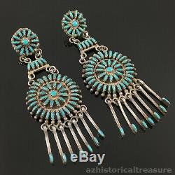 Native American Zuni Sterling Silver & Turquoise Needlepoint Chandelier Earrings