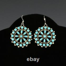 Native American Zuni Sterling Silver & Turquoise Petit Point Earrings
