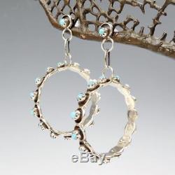 Native American Zuni Sterling Silver Turquoise Snake Eye Hoop Drop Earrings