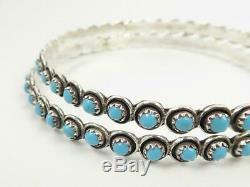 Native American Zuni Sterling Silver Turquoise Snake Eye Huge XXL Hoop Earrings