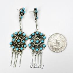Native American Zuni Sterling Silver Turquoise Tassel Large Chandelier Earrings