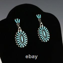 Native American Zuni Turquoise Needle Point Earrings By Fritzon Owaleon