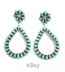 Native American sterling silver Navajo handmade Turquoise cluster dangle earring