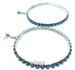 Native American sterling silver Zuni handmade Natural Turquoise Hoop earring
