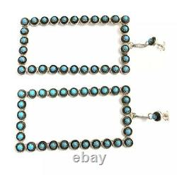 Native American sterling silver Zuni handmade Turquoise Dangle earring