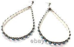 Native American sterling silver Zuni handmade Turquoise Hoop Dangle earring