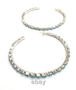 Native American sterling silver Zuni handmade Turquoise Hoop earring