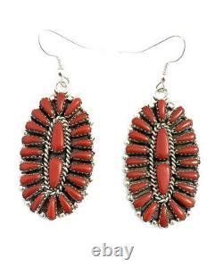 Native American sterling silver navajo Coral Cluster Dangle earrings
