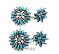Native American sterling silver navajo Turquoise Dangle Cluster earrings