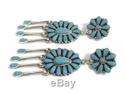 Native American sterling silver navajo turquoise Dangle earrings Zeita Begay